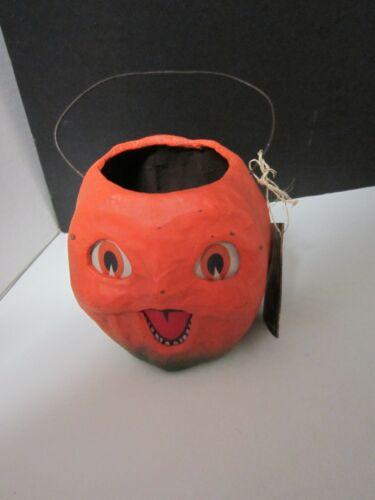 Vintage Style Bethany Lowe Halloween Paper Mache Happy Jack O Lantern Bucket