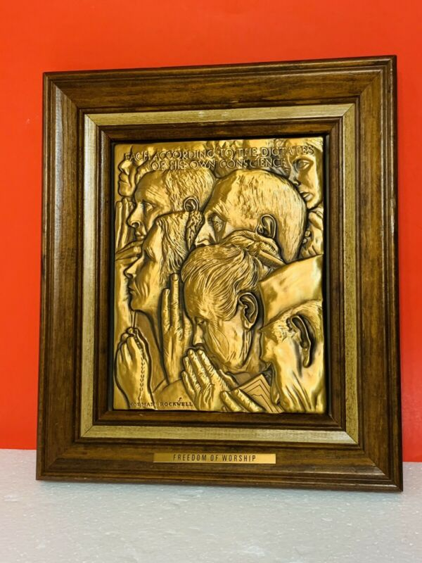 """Vintage Norman Rockwell Solid Bronze Framed """"Freedom From Worship"""" Plaque"""
