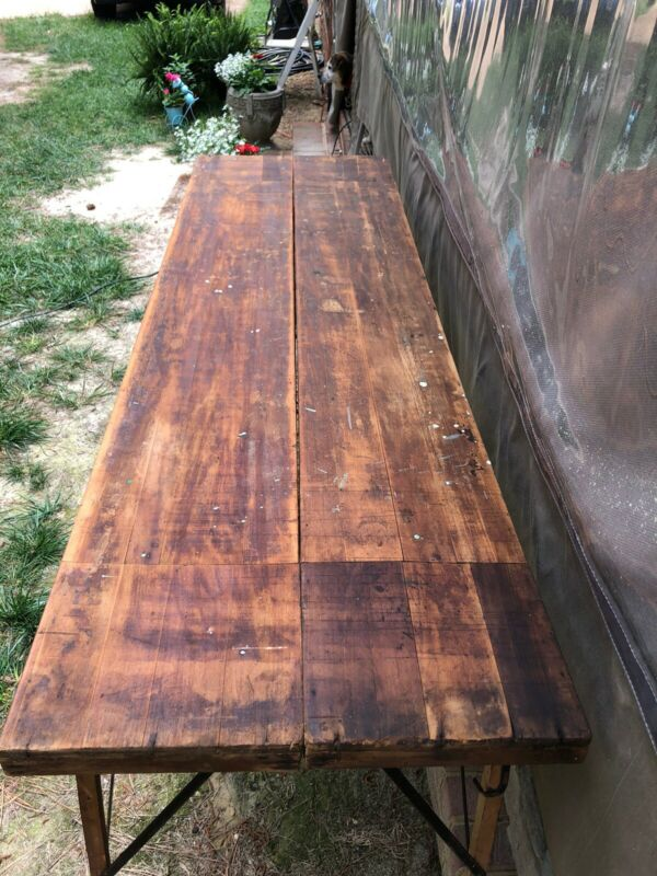 Primitive Antique Folding Wallpaper Table