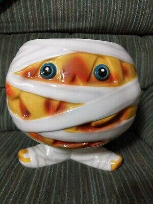 Halloween Mummy Pumpkin Footed  Candy Dish Bowl Cool!! 9