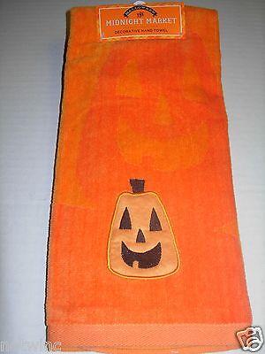 One Happy Halloween Midnight Market Bathroom Hand Towel Pumpkin Velour Decor NWT