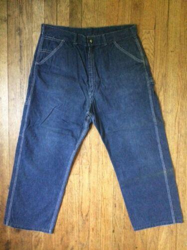 Vintage 50s 60s HERCULES Union Made Gripper Zipper Blue Jeans Carpenter 36x27