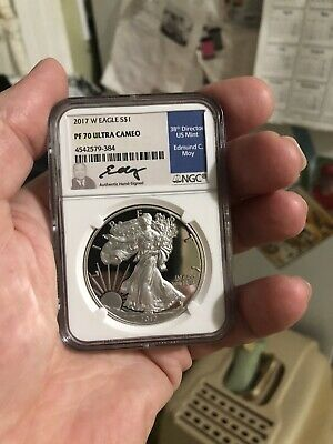 2017-W Proof Silver Eagle NGC PF70 Ultra Cameo signed by Ed Moy