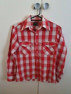 1970s Mens Shirt Styles – Vintage 70s Shirts for Guys 1970s Retro Vintage Mens Western Cowboy Check Plaid Shirt $27.12 AT vintagedancer.com
