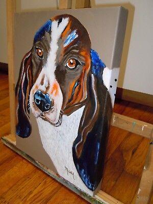 YOUR FUR BABY CUSTOM PET PORTRAIT AVAILABLE!  BASSET HOUND DOG  Acrylic Painting Basset Hound Dog Portrait