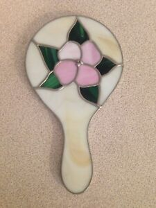 Vintage Stained Glass Hand Held Vanity Mirror