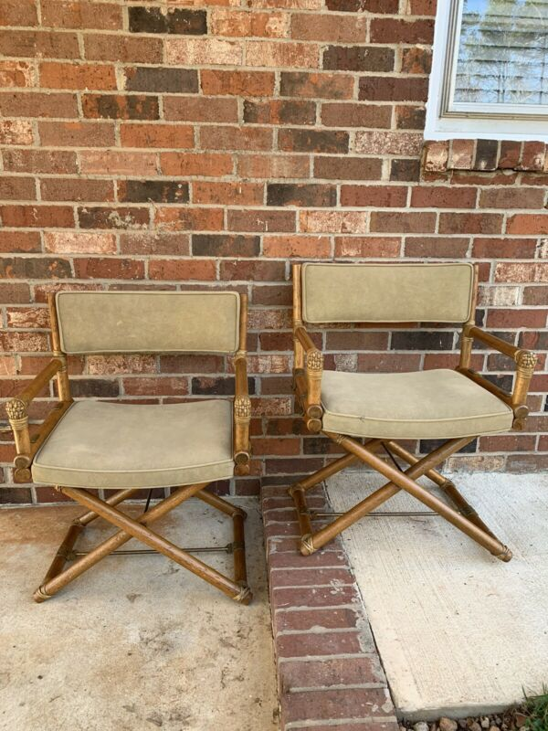 Vtg Mcguire San Fransisco Directors Chairs Pair Padded (draft)