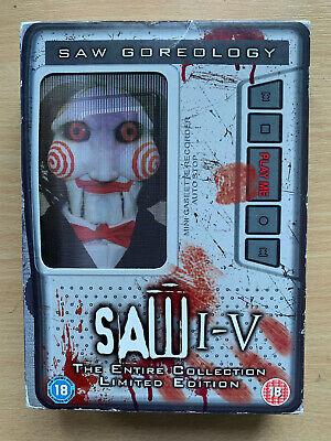Saw Goreology DVD Box Set 1 2 3 4 5 Horror Films Talking Tape Recorder Packaging na sprzedaż  Wysyłka do Poland