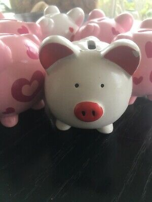 Piggy Bank Parties (piggy bank lot 6 Party Favors Grandkids Gifts Pink White Hearts Pig Lovers)