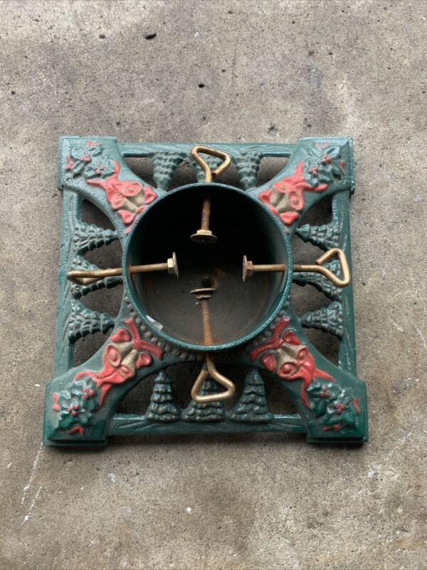 """VTG Innova Hand-Painted Green Gold Red Cast Iron Christmas Tree Stand 13.5"""""""