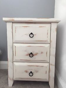 Distressed White Wooden Side Table Elanora Heights Pittwater Area Preview