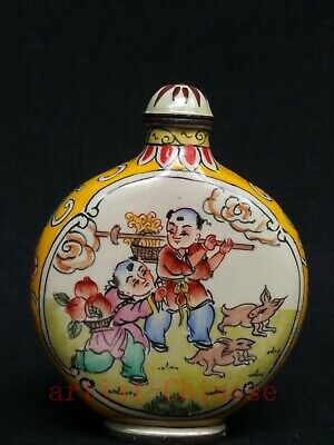 Collect Chinese Old Copper Cloisonne Painitng Lovely Lad Play Games Snuff Bottle