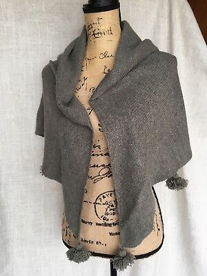 Gray Chunky Weave Wool Blend Shawl Scarf with Tassels from Poetry