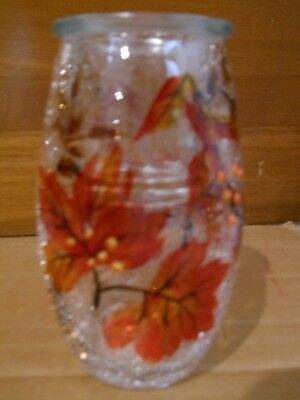 "New Yankee Candle 5 1/2"" Tall Autumn Leaves Crackle Votive Holder"