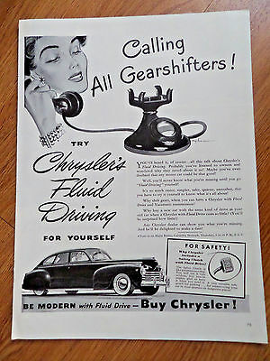 1941 Chrysler Ad Calling all Gearshifters  Chrysler's Fluid Driving