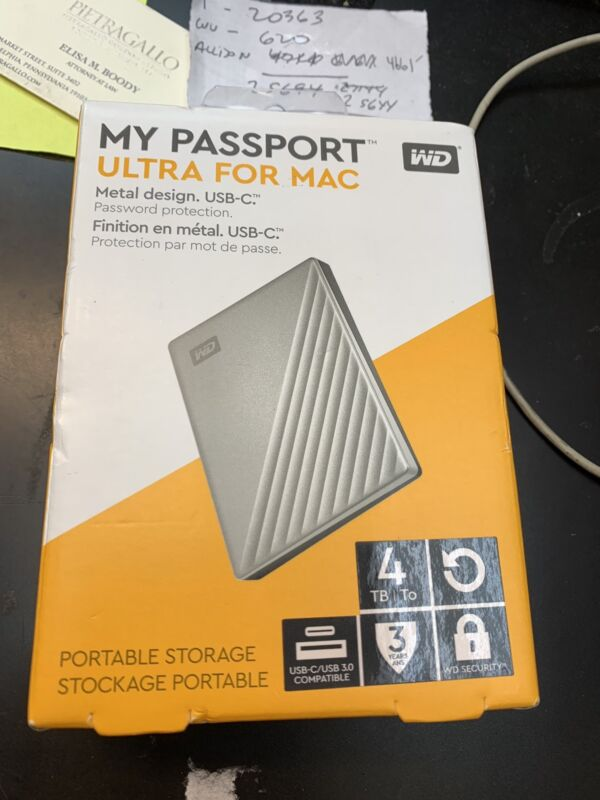 WD My Passport Ultra For Mac Portable Storage 4Tb Silver New In Box