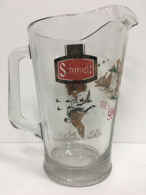 New Old Stock Schmidt Beer Heavy Glass Pitcher Wildlife Scene Never Used