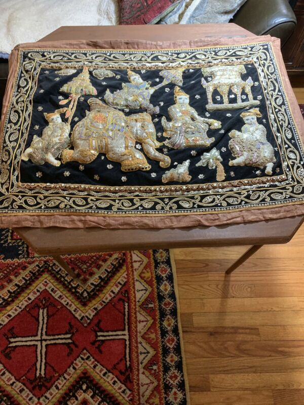 Vtg Handmade Tapestry Sequins, Glass Beads, Embroidery, Elephant, India