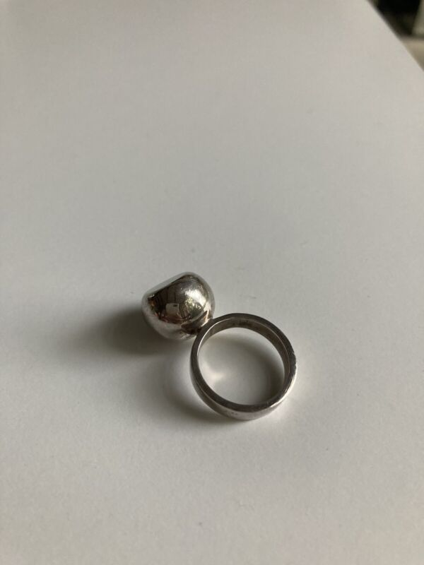Modernist Ball Ring Sterling Silver Size 5 Mexico