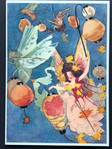 Blank Art Note Card FAIRY LANTERN gnome NOS Pleiades Press #167 cicada wings