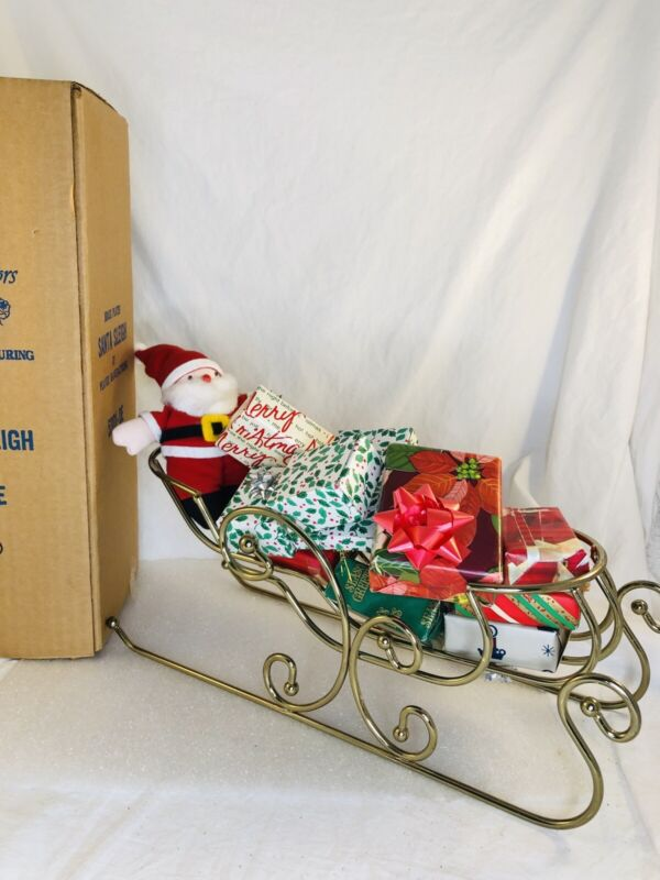 Home Interiors HOMCO #5301-DE Brass Plated Christmas Santa Sleigh