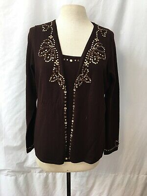Bcbg Women's Set Of 2 Beaded Cardigan Size XL/Cami  Size Large Chocolate Brown Chocolate Brown Cardigan