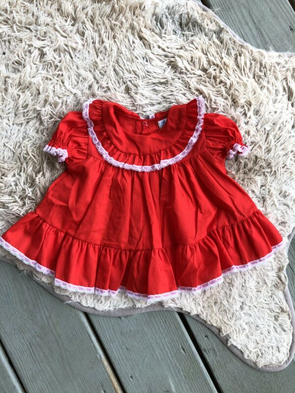 Vintage Bryan Baby Infant Girls Full Circle Dress Red Ruffles Lace Sz 3-6 Months