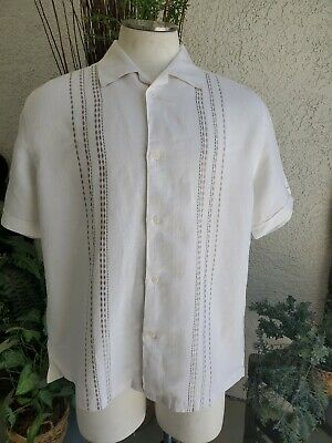 The Havanera Co. Men's White withTaupe Embroidered Button Down Shirt Sz L 203005
