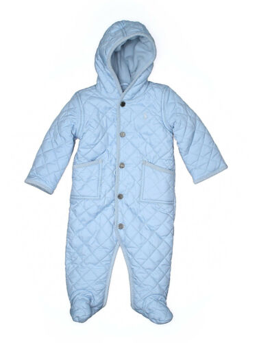 Baby Boy Ralph Lauren Blue Quilted Fleece Lined Snowsuit Bunting Size 9 Months