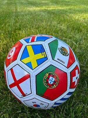 SOCCER BALL FIFA WORLD CUP FULL SIZE FLAGS OFFICIAL SIZE 5 SHIPPED FROM USA NEW!