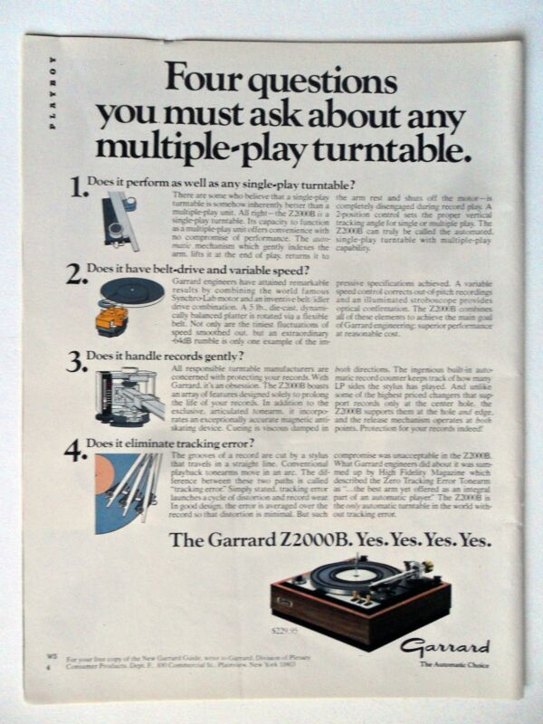 1976 Print Ad Garrard Z2000B Turntable Electronics ~ The Multiple-Play Turntable