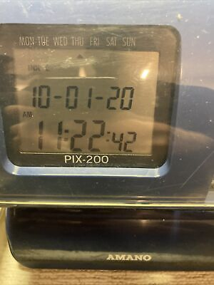 Amano Pix200 Time Clock With Key Power Adapter Manual Wall Mount - Tested