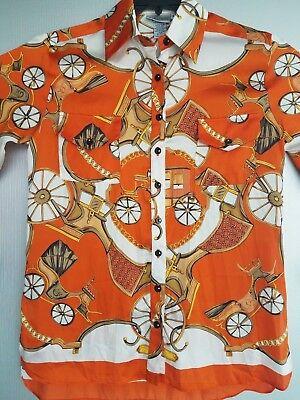 Bella Pelle Women's Button Up Shirt Blouse Equestrian  USA Made Medium