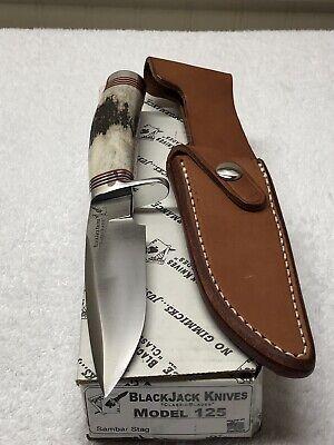 USA Made BlackJack Knives Classic Blades Model 125S With Sambar Stag Handle