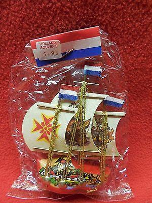 Vintage Holland Wooden Shoe/Ship Souvenir