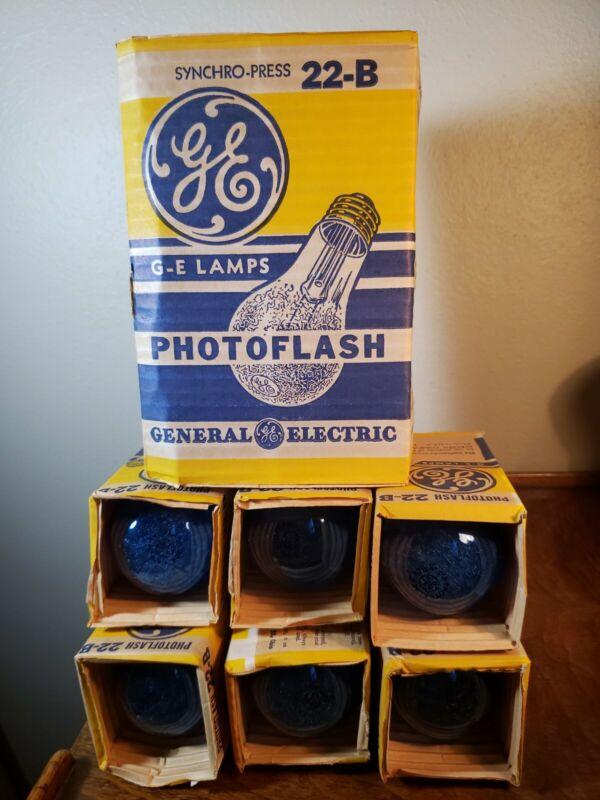 Lot of 6 Vintage GE Photoflash Syncro-Press 22-B Flash Bulbs in Original Wrap