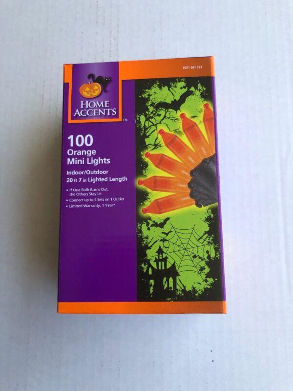 New Orange 100 Ct Indoor Outdoor Mini String Lights Halloween Party Patio