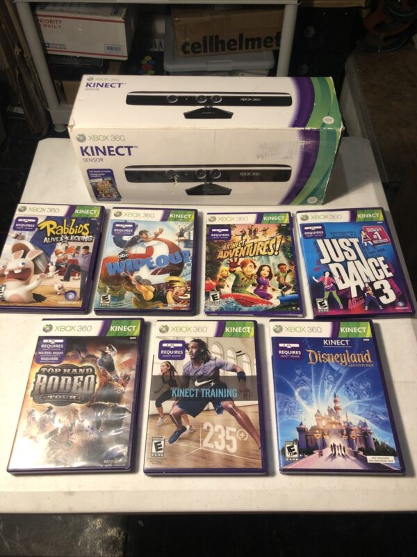 xbox 360 kinect sensor with games - FREE SHIPPING