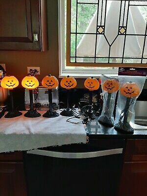 6 Vintage Halloween Pumpkin Candke Blow Mold Electric Candle Lights 10in tall