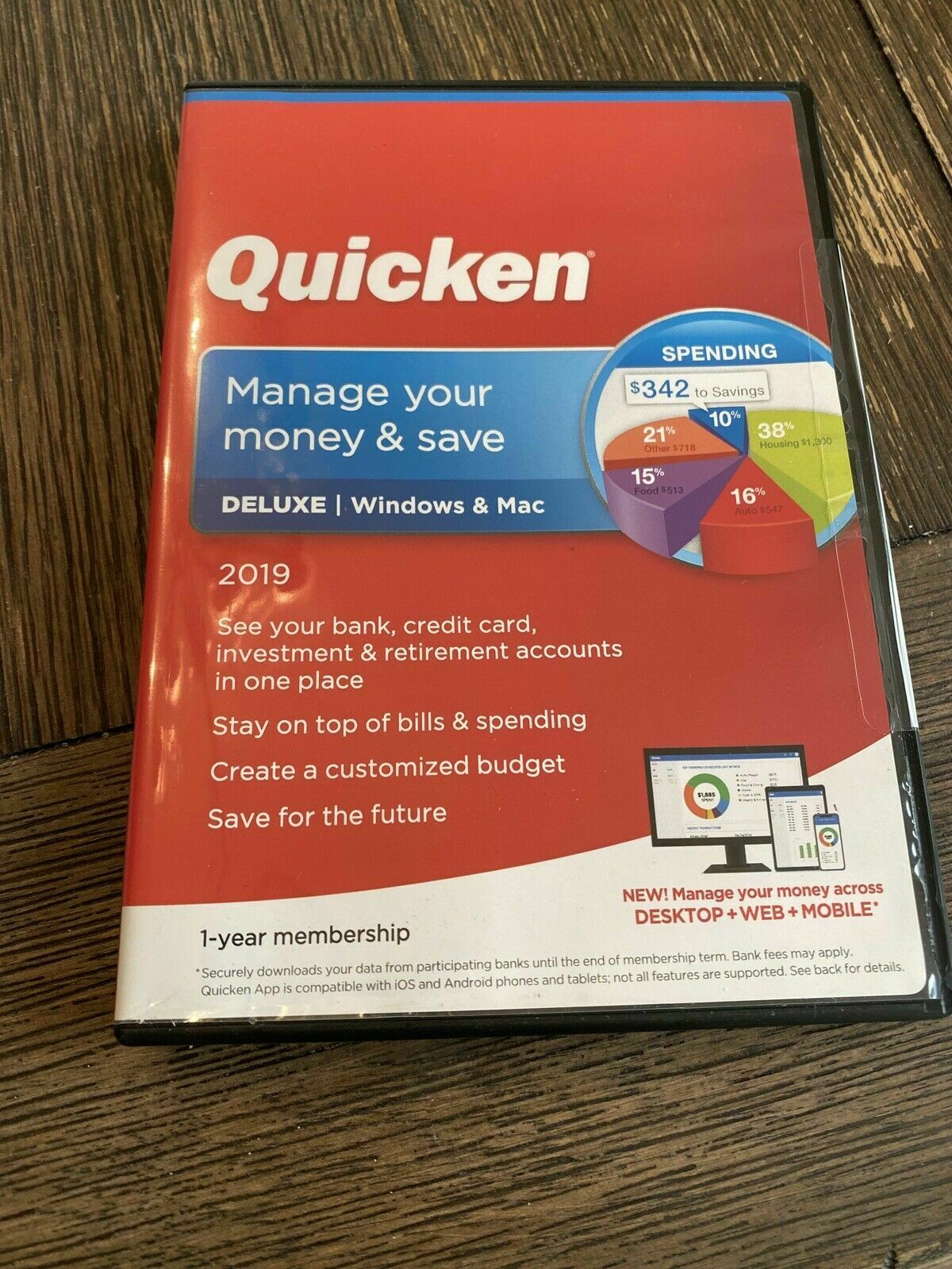 Quicken Deluxe Manage Your Money & Save 2019 For Windows & Mac - NEW