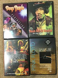 Rock DVDs and VHS  pink Floyd Hendrix deep purple