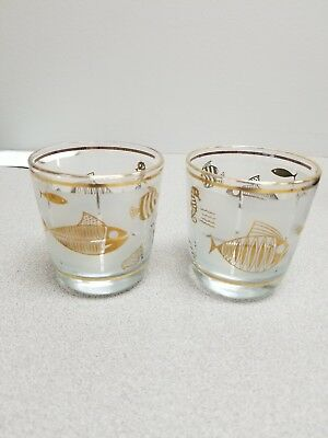 2 MCM Frosted Low Ball Glasses with Fish & Sea Life Design+