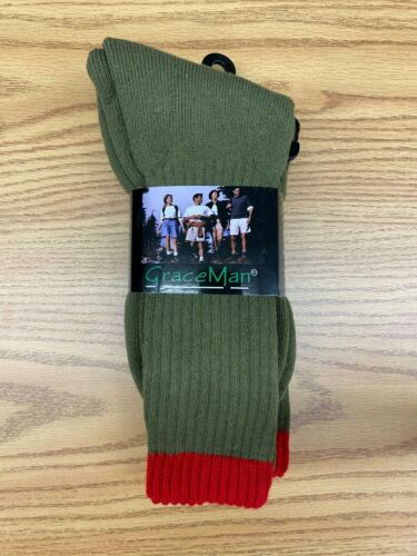 Graceman Scouts Troop Uniform Olive Green & Red Hiking Camping Crew Socks 2-pack