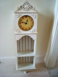 BEAUTIFUL SHABBY FRENCH ORNATE  LARGE WALL CLOCK WITH SHELF ****SO CHIC***