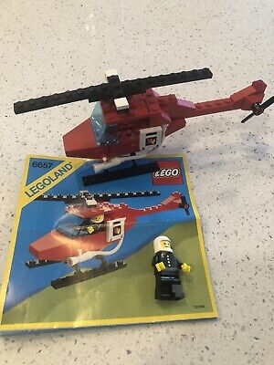 Vintage (1985) LEGO Classic Town 6657 Fire Patrol Copter - 100% complete -No Box