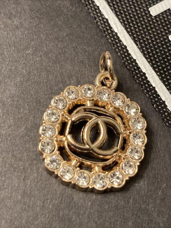 Chanel Gold Rhinestone Zipper Pull 22mm 1pc Stamped Square