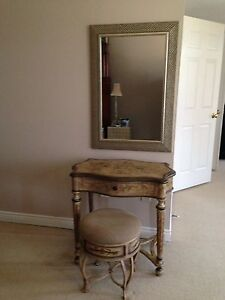Vanity table, stool and mirror