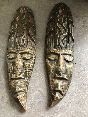 2 Vintage Wooden Aboriginal ? Carved Faces Wall Hangings 27 Cm Tall