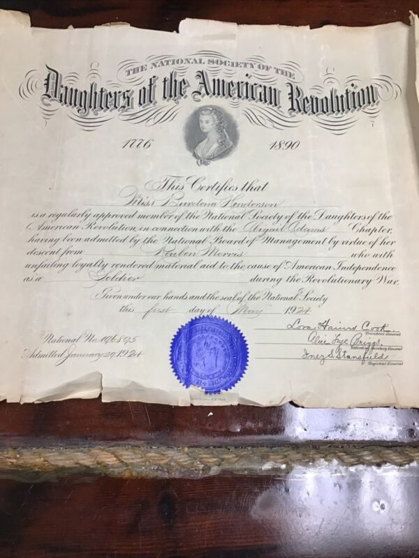 1924 Daughters Of The American Revolution Certificate, Abigail Adams Chapter.