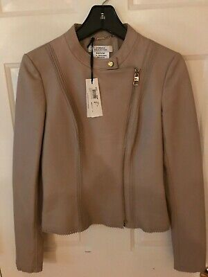 Versace Collection Womens Leather Jacket Beige Size 40 IT US 4